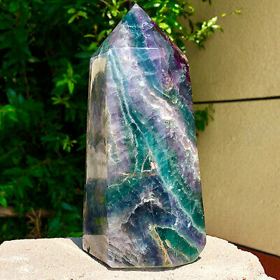 5.19LB Natural colour Fluorite Crystal obelisk crystal wand healing stan YJ585