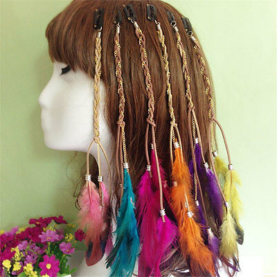 New Multi-color Clip In On Hair Extension With Feather Synthetic 9.84 Inches