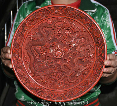 """12"""" Old Chinese Palace Red lacquerware Carved Two Dragon play Bead Flower Plate"""
