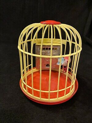 Vintage Chirpy W Germany Wind Up Flocked Blue Bird in Birdcage Toy Figure