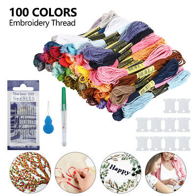 100 Coloured Egyptian Embroidery Cross Stitch Thread Floss+needle+burnt film
