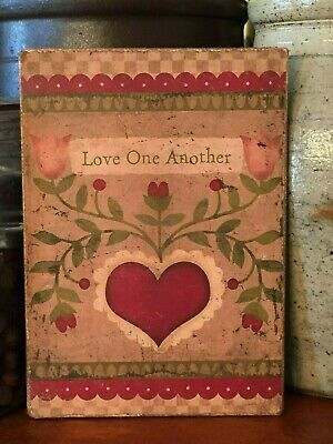 """Primitive Folk Art Valentines Heart Love One Another Print on Canvas Board 8x10"""""""