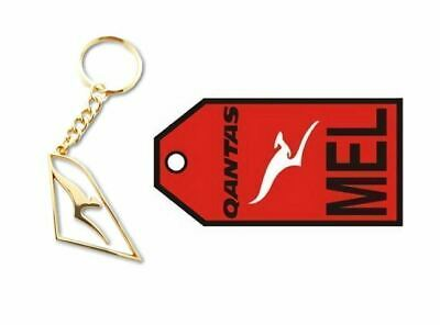 Set Of 2 Qantas Australia Gold Cut Out Keyring & Melbourne Luggage Bag Tag