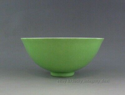 Beautiful Chinese Antique Monochrome Apple Green Glaze Porcelain Bowl Mark