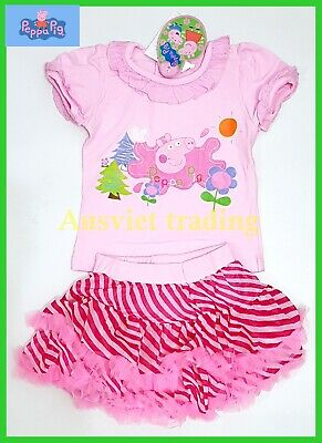 BNWT Peppa Pig girls cotton top t-shirt tshirt skirt 2pc oufit set New release