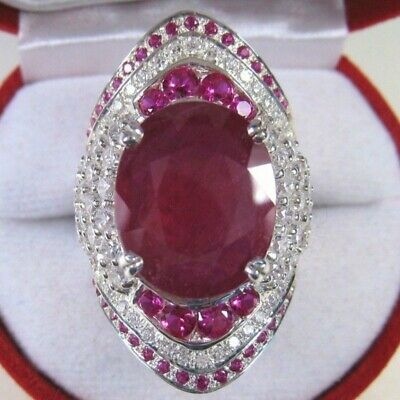 Gorgeous 925 Silver Rings for Women 2.85ct Oval Cut Ruby Wedding Ring Size 6-10