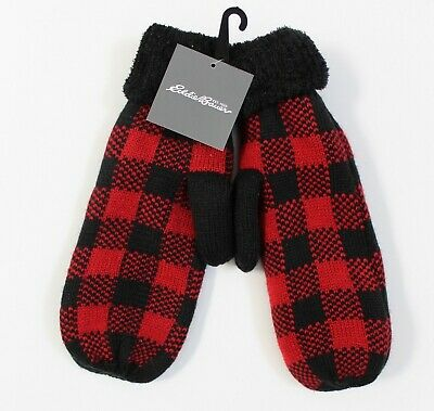 Eddie Bauer Women's Scarlet Plaid Fireside Knit Mittens One Size - Red & Black
