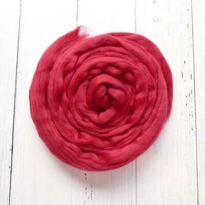 Red Merino Wool Roving Combed Top - Passion Red