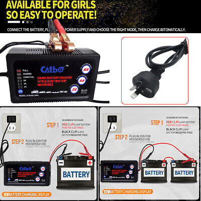 Battery Charger Maintainer 6V 12V Amp Volt Trickle RV Car Truck Motorcycle Fast