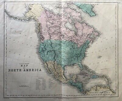 1850 Antique Scarce Large Map; North America by Gall & Inglis