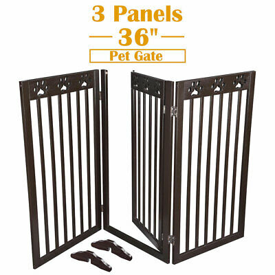 "36"" 3 Panels Pet Gate Folding Wooden Retractable Dog Fence Baby Safety Expanding"