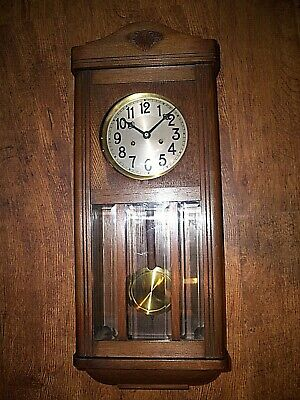 Antique 1920s German Badische Uhrenfabrik Oak Wall Clock (Chime Pendulum & Key)