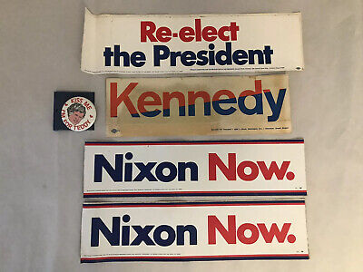 VTG Lot of 5 Kennedy, Nixon Now, Re-Elect the President Bumper Stickers Teddy