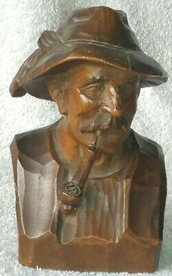 Vintage German Black Forest Wood Carving Bust Of Man Smoking Pipe