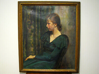 LARGE ANTIQUE 1930 OIL ON CANVAS PORTRAIT PAINTING YOUNG WOMAN-Signed H. SPECTOR