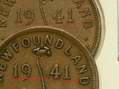 1941 Newfoundland Small Cent  High 1 Variety #8861