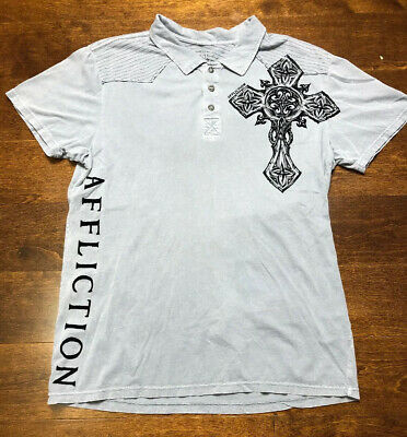 Affliction Live Fast Polo Shirt blue Distressed Graphic Tee Metal Buttons Mens L