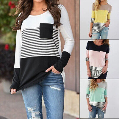 Long Sleeve Stripe Maternity Tops Pregnant Women Breastfeeding Nursing T-shirts