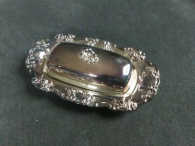 Vintage Towle Silver Plate Covered Butter Dish-Ornate Design