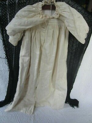 Antique Christening Gown embroidered with attached cape - VGC from 1800's