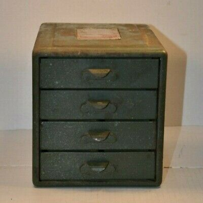 Vintage small 4 drawer metal cabinet File A Way chest Steelmasters