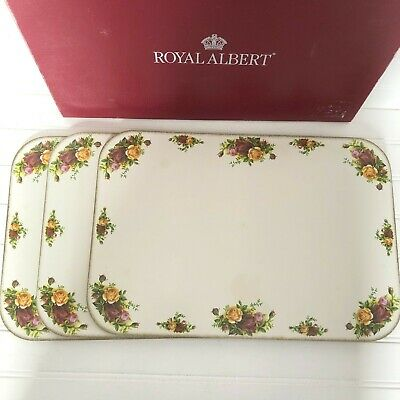 Set of 3 Royal Albert Old Country Roses Placemats with Cork Backing in Box