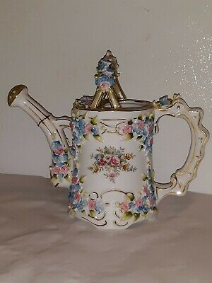 Antique Ornate Intricute Crafted PORCELAIN Floral WATERING PITCHER /M - 11 ⚘🌸🌹