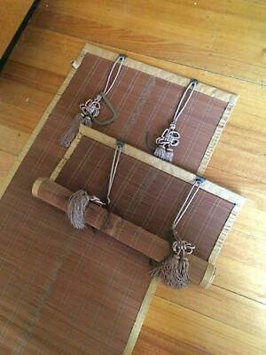 Pair Antique Vintage Japanese Bamboo Buddist Temple Blinds Screens Sudare