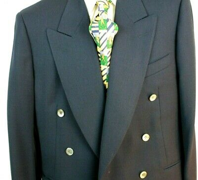 CANALI NAVY BLAZER Double Breasted  Peak Lapel Six Button All Wool Italy 40 Reg