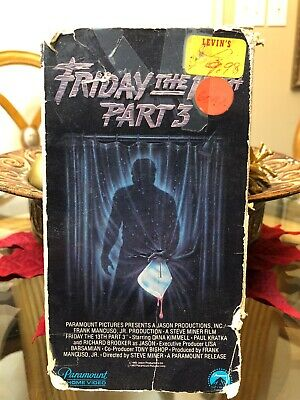 Friday The 13th Part 3 VHS1982  Slasher Horror Paramount Pictures Jason Voorhees
