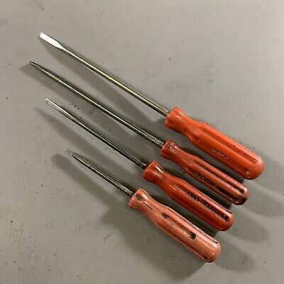SET x4 VINTAGE AUSTRALIAN-MADE TURNER RED HANDLED SMALL SLOTTED SCREWDRIVERS