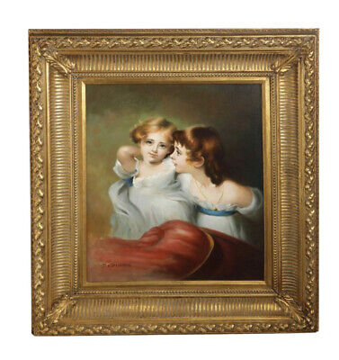 D. Semdeman (20th Century) Portrait of Two Young Girls Oil Painting on Canvas