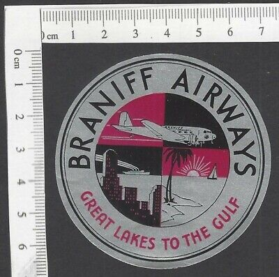 Braniff Airways – Great Lakes to the Gulf baggage luggage label