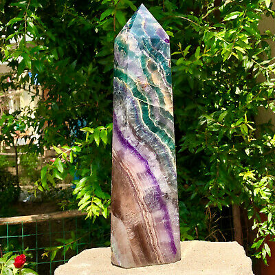 6.15LB Natural colour Fluorite Crystal obelisk crystal wand healing stan YJ590