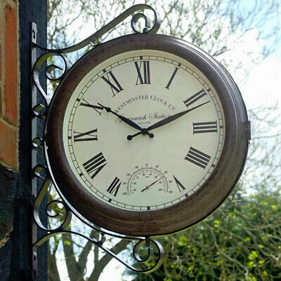 Double Sided Greenwich Station Clock and Thermometer
