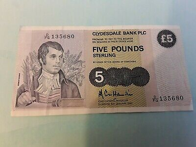 1983 Clydesdale Bank Plc £5 Banknote * D/Fq 135680 Nice Note