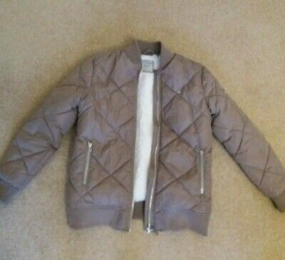 Next Girls' Beige, Fleece Lined, Quilted Bomber Jacket Age 13