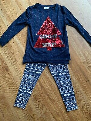 Beautiful Girls Sequin Christmas Outfit/ Top/ Leggings Age 6 Years