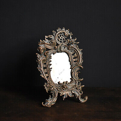 Small French Ormolu Table Mirror, 19th Century - Antique Gilt Bronze Rococo