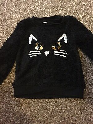 Girls Fleece Cat Jumper Age 2-3 Years Sparkly Cat Face. Tu At Sainsbury's