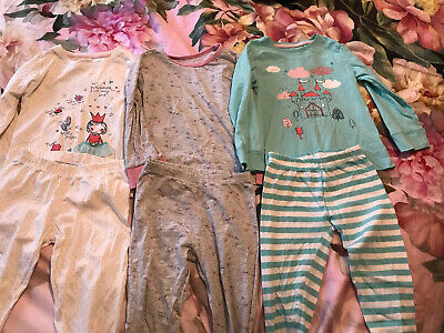 3 X Pairs Of Girls Age 4-5 Years Pyjamas From Mothercare Princess, Cats