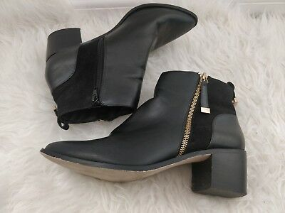 NEW Ex Miss Selfridge Size 3-8 Black Patent Faux Leather Block Hell Ankle Boot