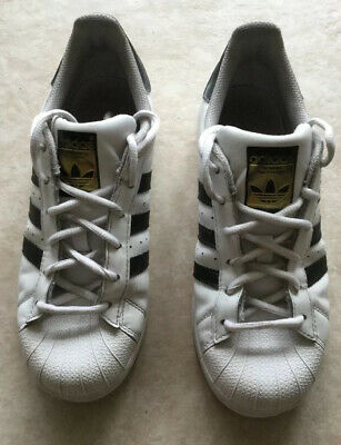 ADIDAS SUPERSTAR SHOES Sneakers WHITE LEATHER w/BLACK Youth Sz 4 Kids Girls Boys