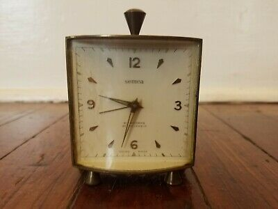 Semca Desk Clock Swiss Vintage 7 Jewels 8 Day, NOT WORKING For Parts