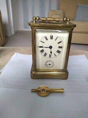 Antique 8 Day Carriage Clock With Alarm - Unpolished - Nice Patina - Keeps Time