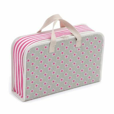 HobbyGift Project Case Storage Bag - Pink Stars and Stripes Design