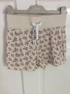 NWOT - Girl's NEXT Beige with Pink Florals Jersey Cotton Shorts Age 6 years