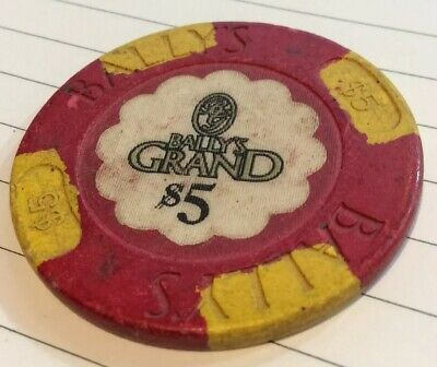 The Grand- $5 Casino Chip- Obsolete- Used