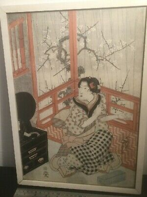 Very Old Japanese Woodblock Print . Signed .