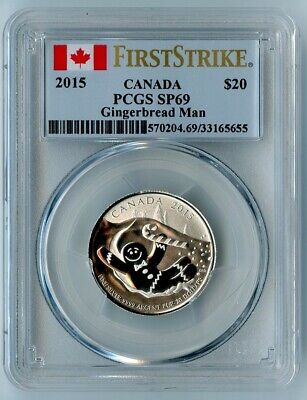 2015 Canada Ngc First Strike Sp69 Silver Gingerbread Man S$20!